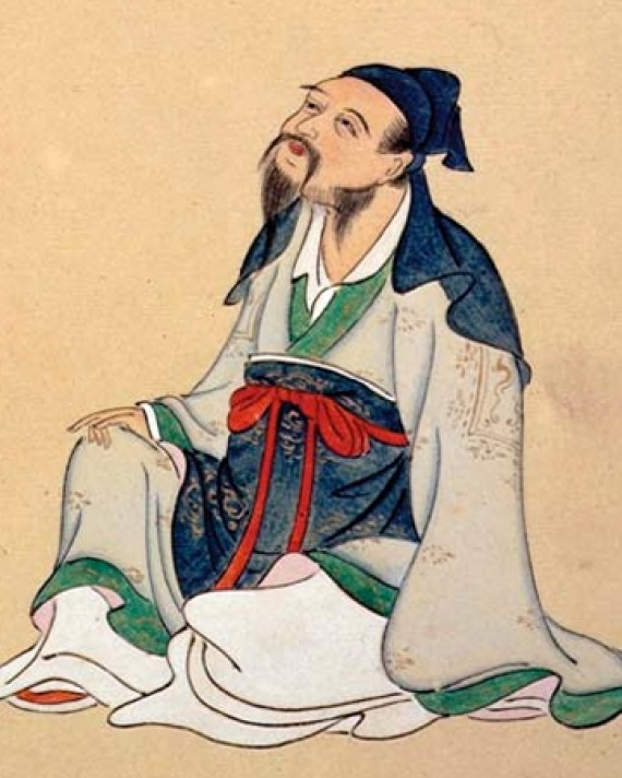 Chinese poet Li Bai seated.