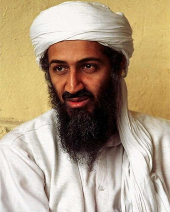 Color photograph of Osama bin Laden, founder of militant Islamist group al-Qaeda.
