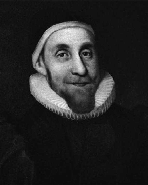 Black and white image of English scholar, writer, and clergyman Robert Burton.