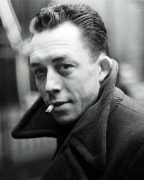 Black and white photograph of French novelist, essayist, and playwright Albert Camus.