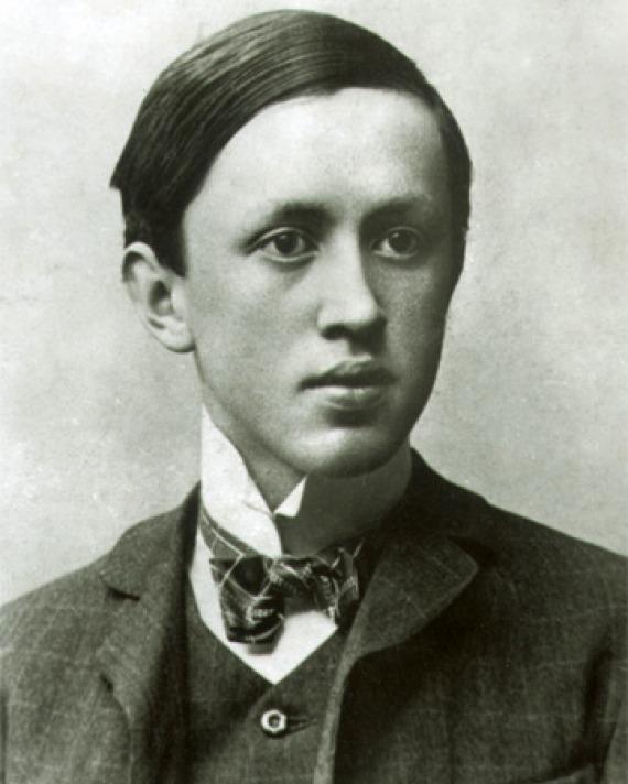 Black and white photograph of Czech writer Karel Čapek.