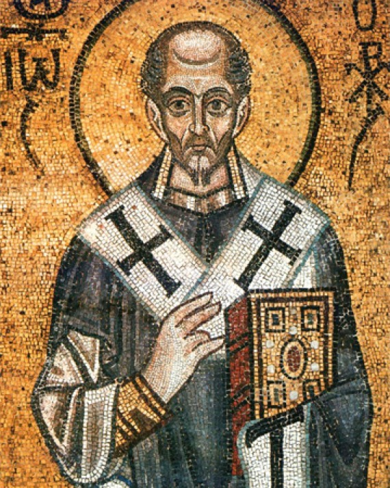 Color mosaic of earl Church father St. John Chrysostom.