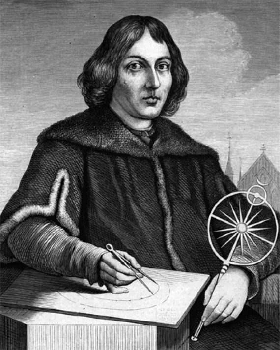 Black and white image of Polish astronomer Nicolaus Copernicus.