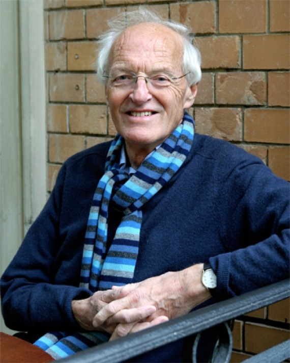 Color photograph of British playwright, novelist, and translator Michael Frayn.