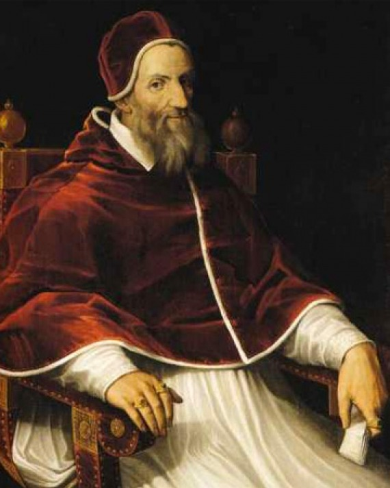 Portrait of Pope Gregory XIII seated.