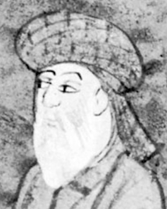 Black and white image of Persian lyric poet Hafez.