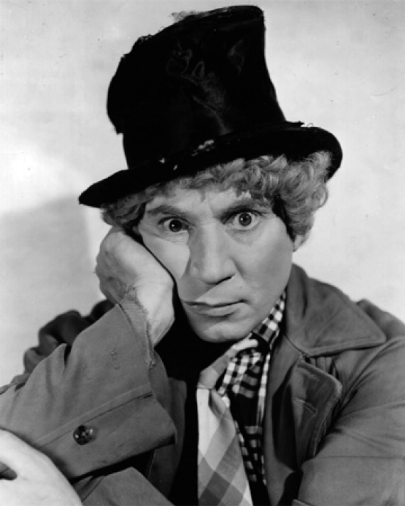 PHotograph of American comedian and film star Harpo Marx.