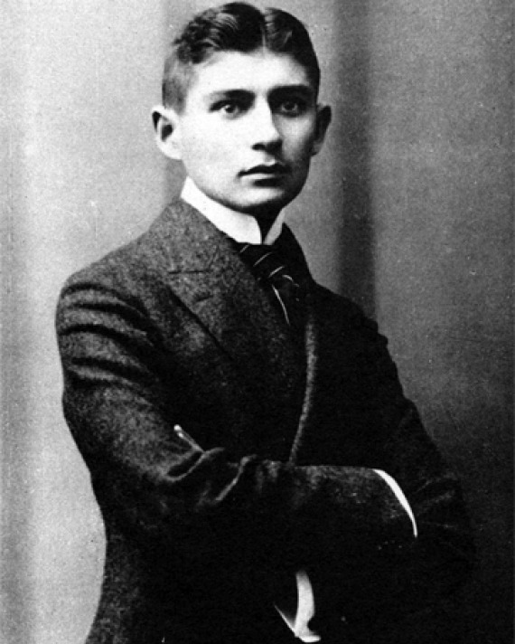 Black and white photograph of German-language writer Franz Kafka.