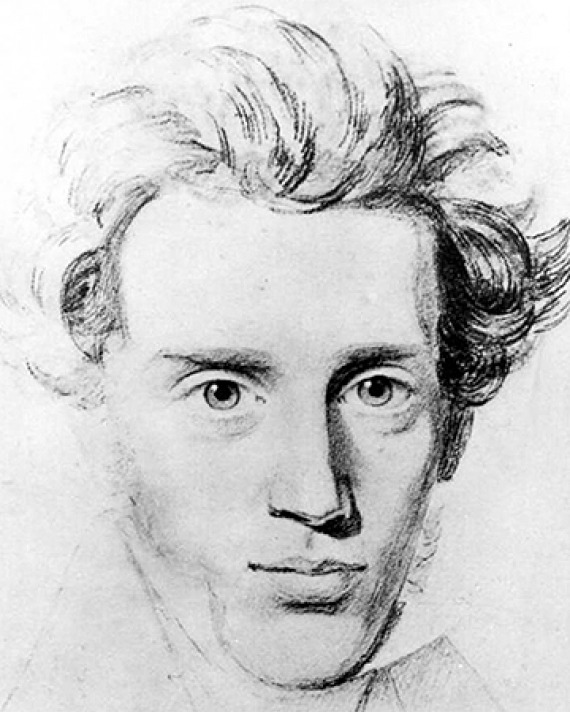 Drawing of Danish philosopher Søren Kierkegaard.