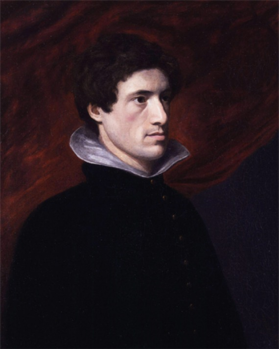 Painting of Charles Lamb wearing a black suit against a red backdrop.