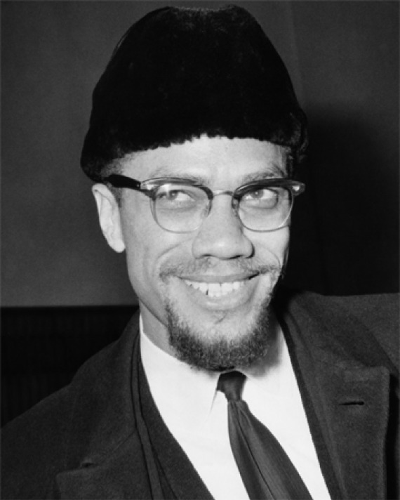 Black and white photograph of African-American leader Malcolm X.