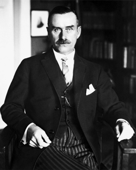 Black and white photograph of German novelist and essayist Thomas Mann.