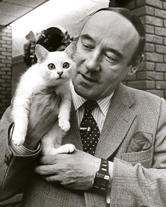 Desmond Morris with a burmilla cat, 1986.