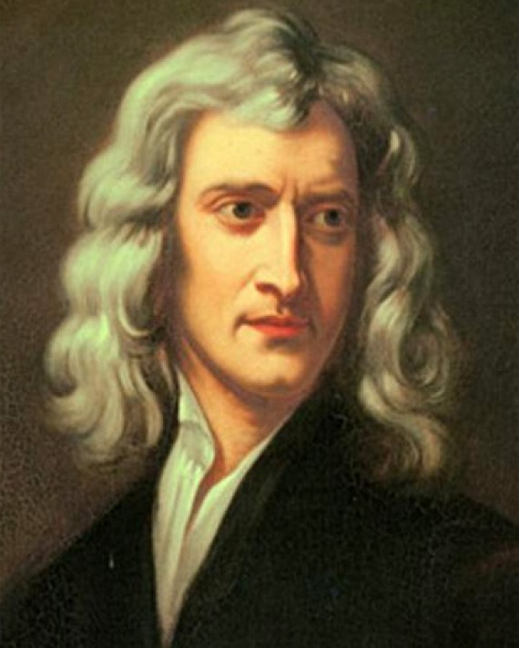 Portrait of English physicist and mathematician Isaac Newton.