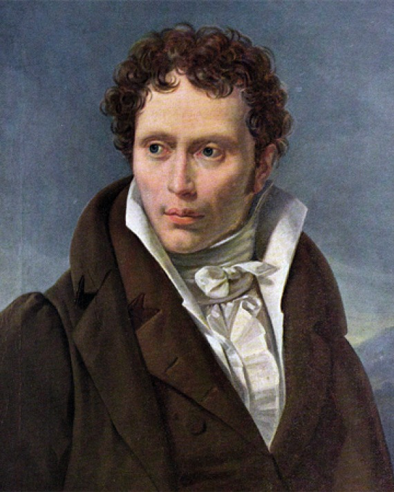 Portrait of young Arthur Schopenhauer wearing a brown suit and a cravat.