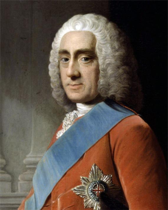 Portrait of Philip Dormer Stanhope wearing a blue sash.