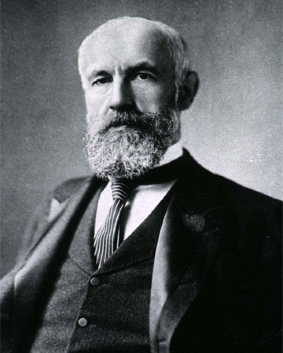 Black and white photograph of psychologist G. Stanley Hall.