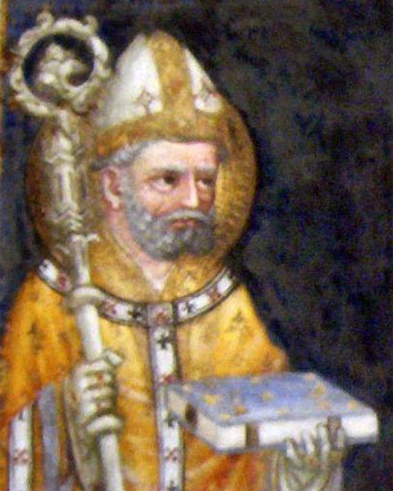Detail of mural featuring Jacobus de Voragine, archbishop of Genoa and chronicler.