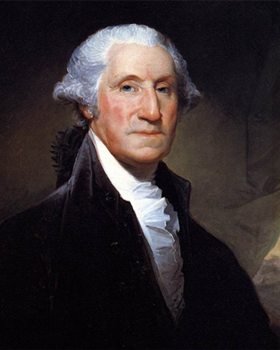 Portrait of American general and first president George Washington.