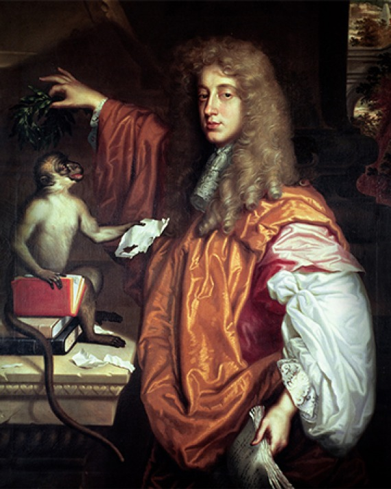 Portrait of English wit and poet John Wilmot, 2nd Earl of Rochester with monkey.