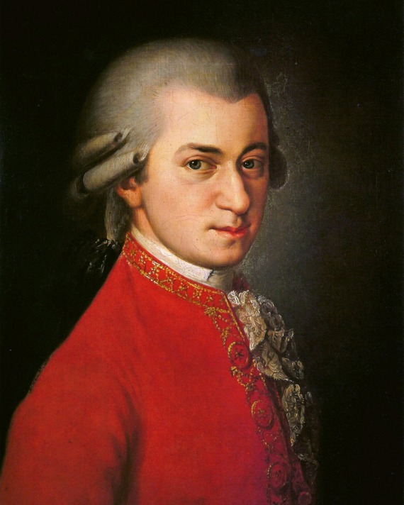 color oil painting of Wolfgang Amadeus Mozart in a red tunic with gray hair
