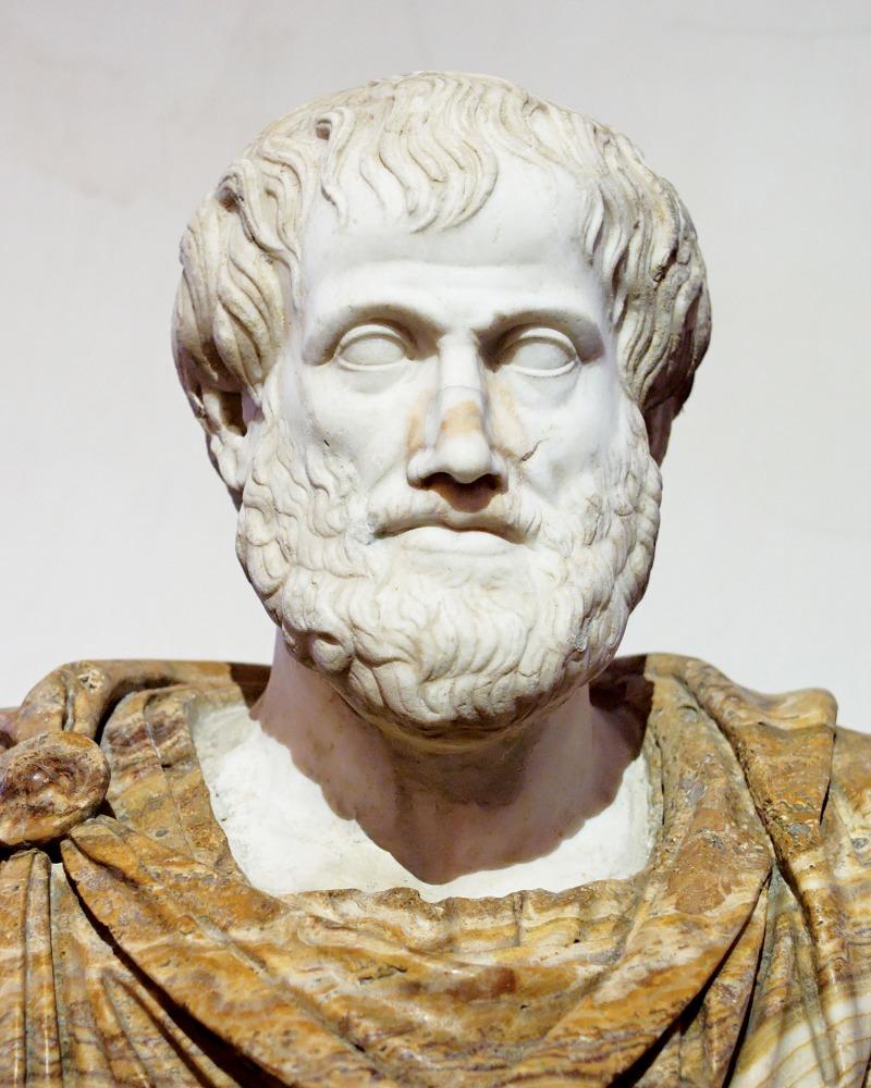 Photo of stone Aristotle statue face