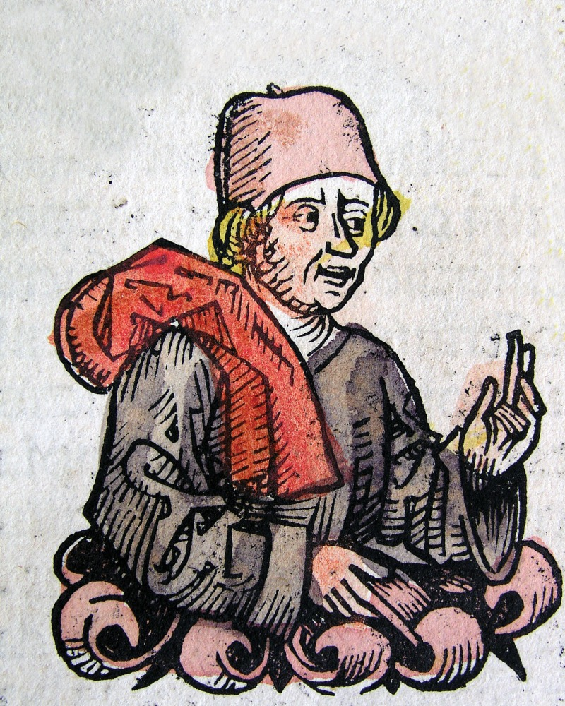 Illustration of Plautus with red robes and hat