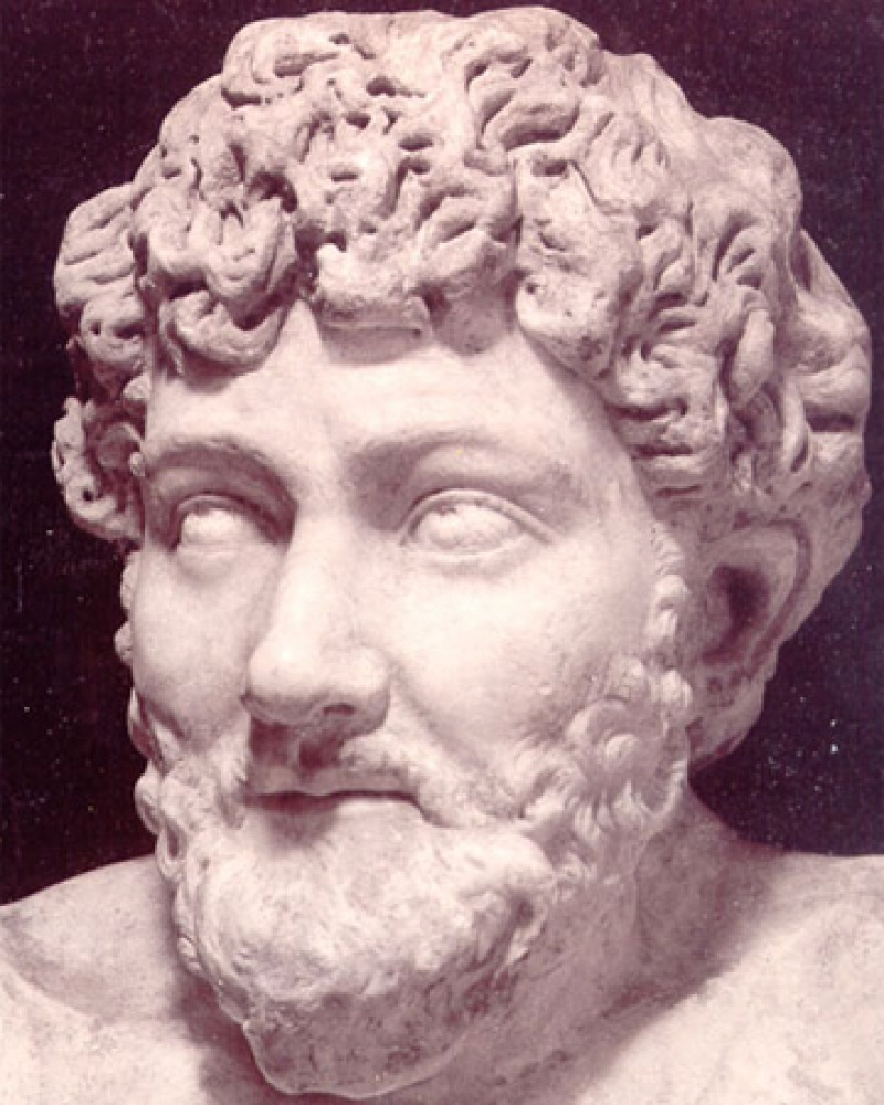 Sculpture bust of legendary Greek fabulist Aesop.