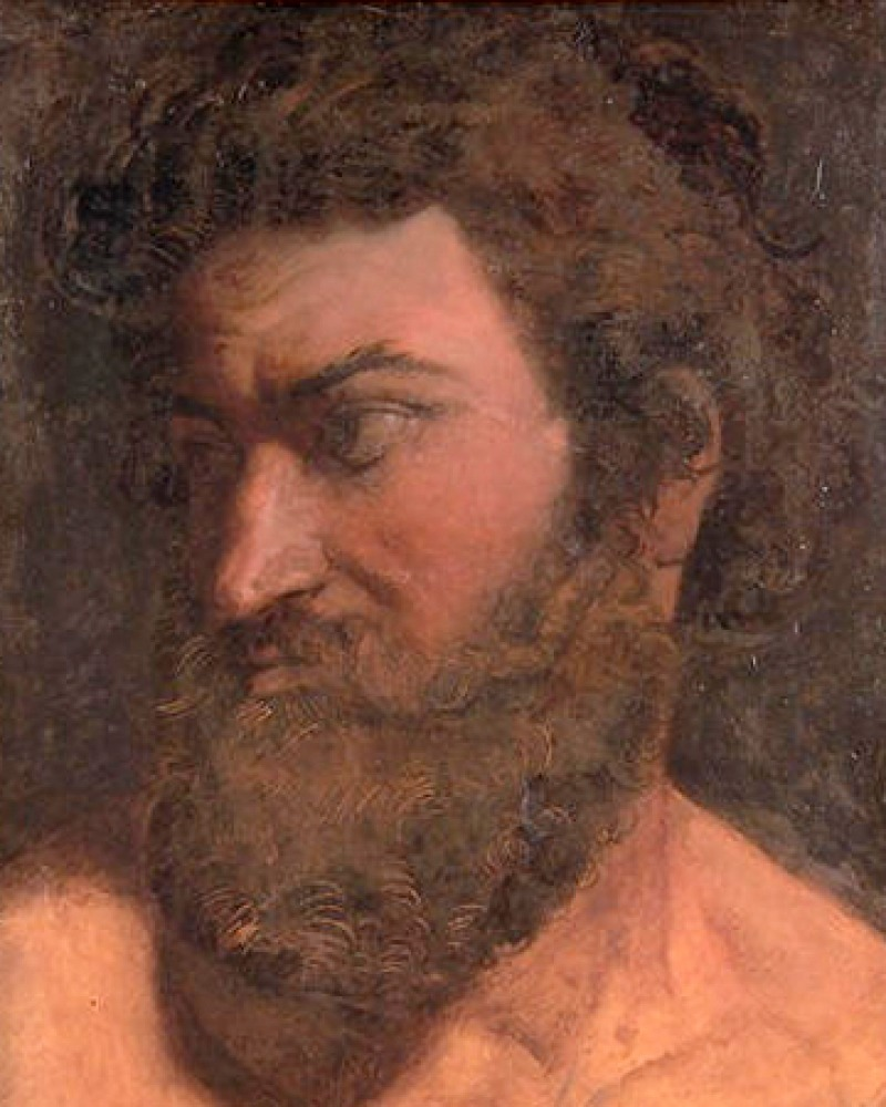 Color portrait of Greek poet Anacreon.
