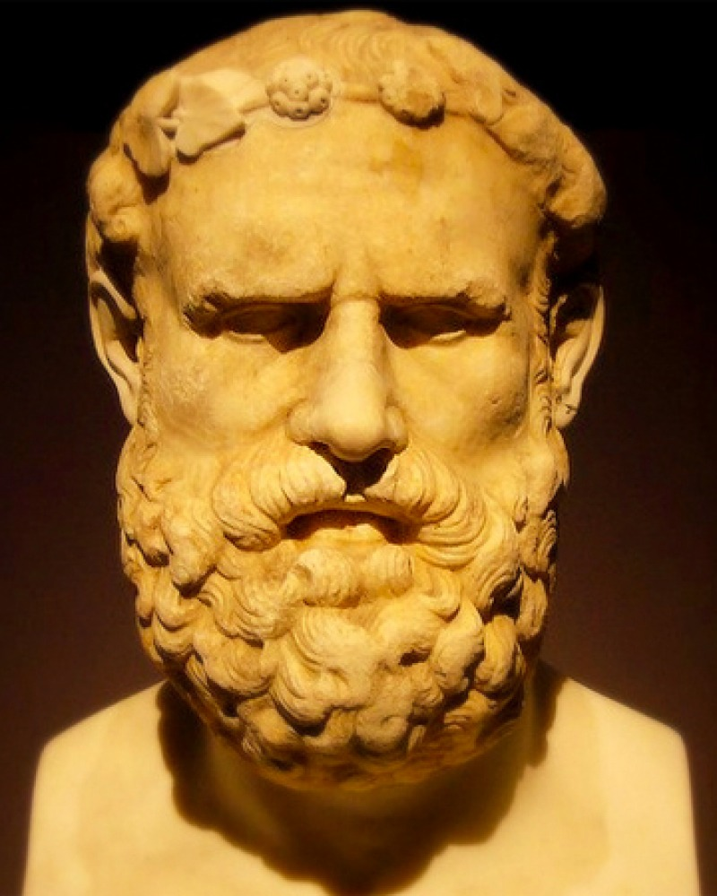 Portrait bust of Greek lyric poet Archilochus.
