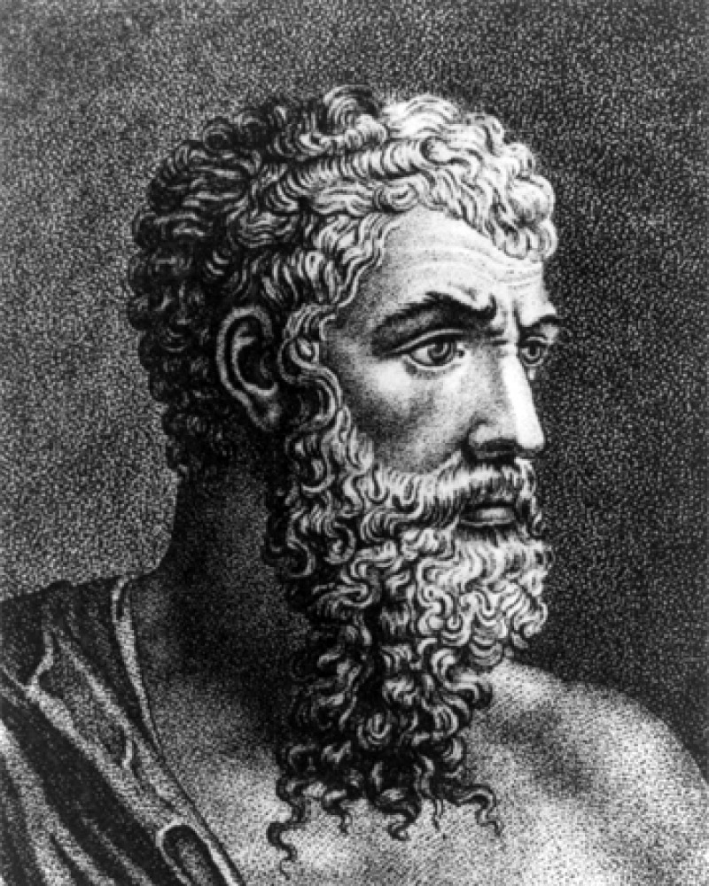 Classical engraving of Aristophanes with a long beard.