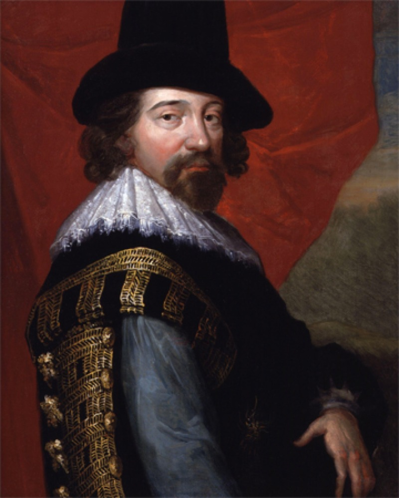 Portrait of Francis Bacon in sixteenth-century armor.