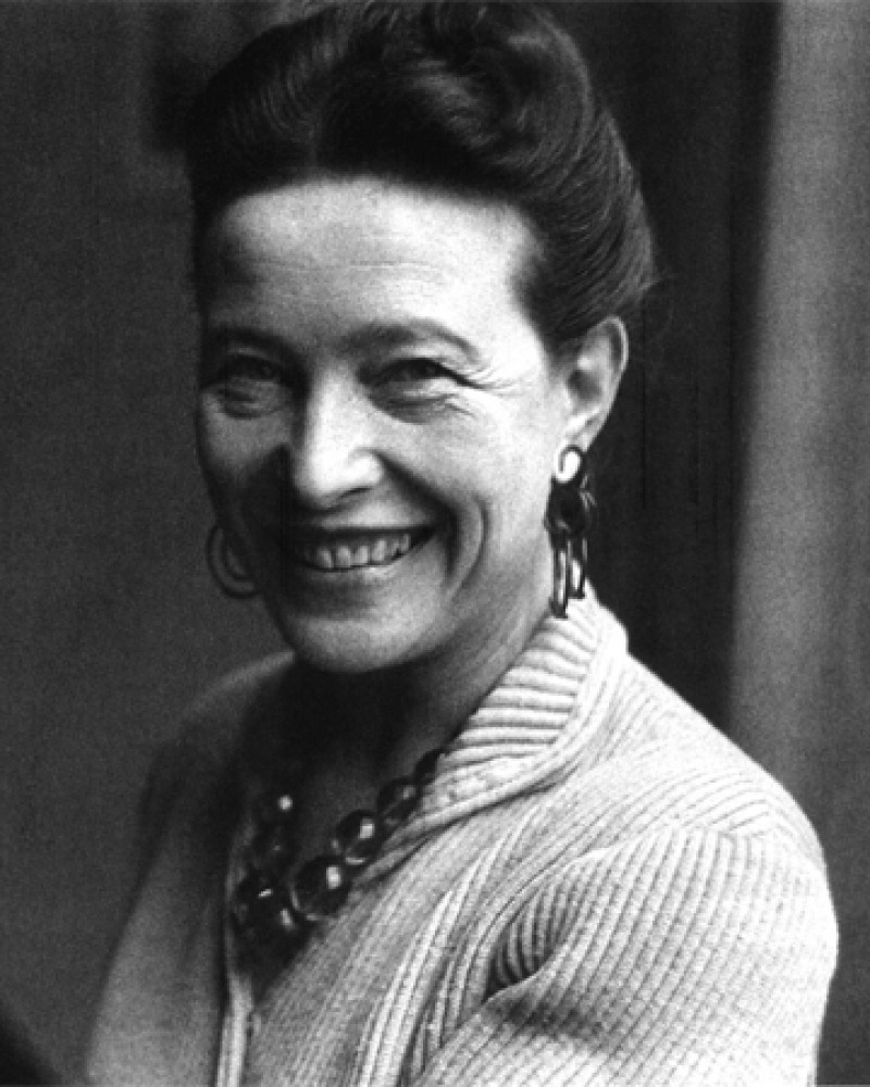 Black and white photograph of French writer and feminist Simone de Beauvoir.