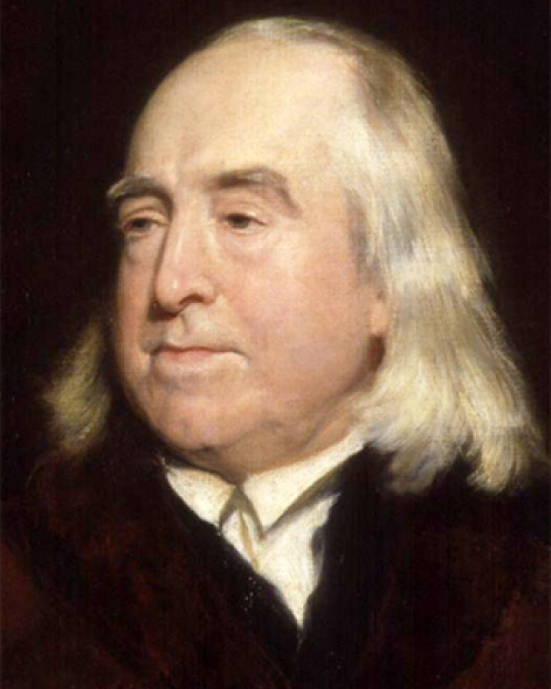 Painted portrait of English philosopher Jeremy Bentham.