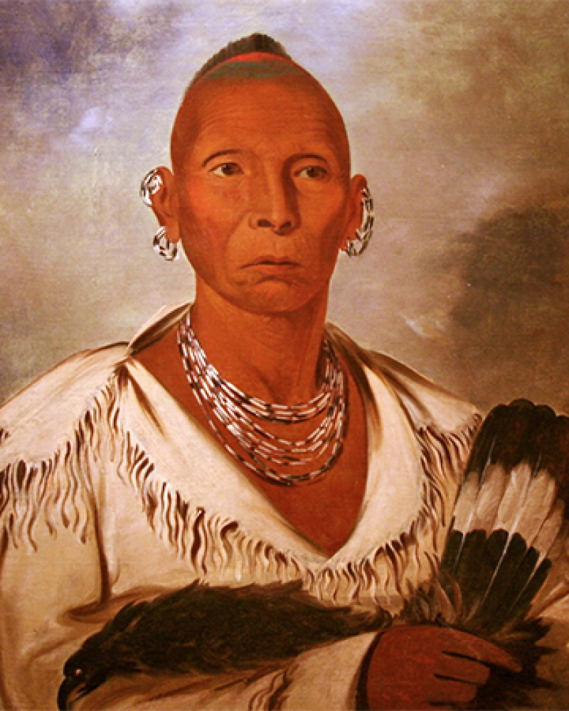 Painted portrait of Native American leader Black Hawk.