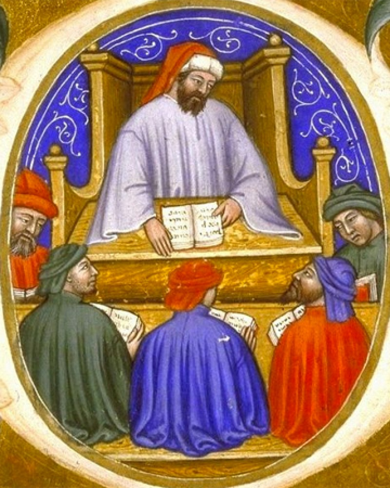 Image from an illuminated manuscript of Boethius teaching two students.