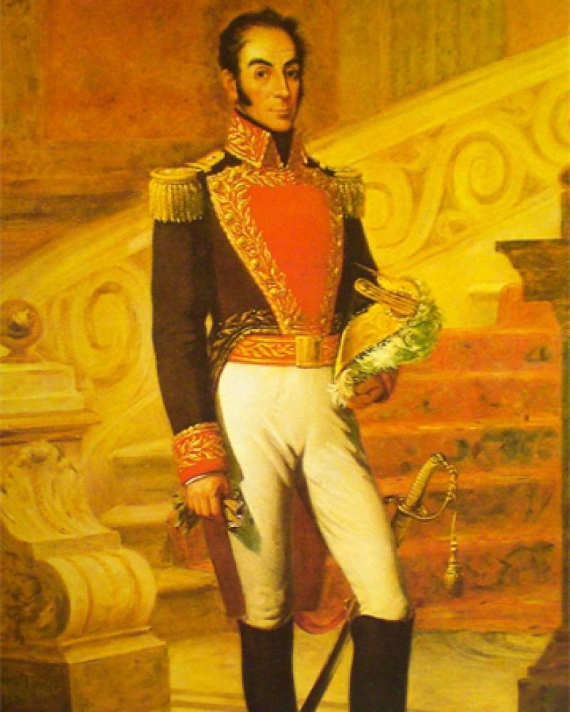 Portrait of South American soldier and statesman Simón Bolívar.