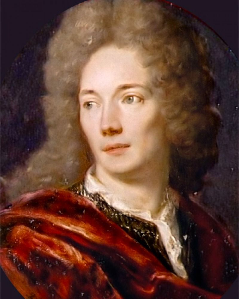 Painting of Jean de la Bruyère wearing a red cape.