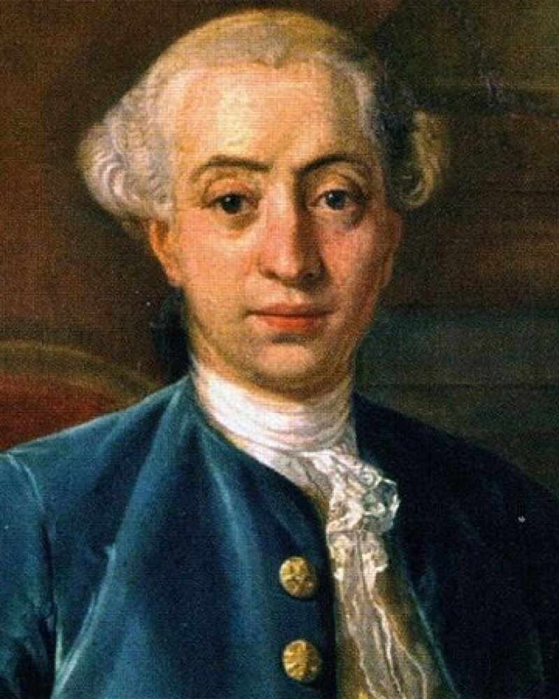 Color portrait of the Italian writer and libertine Giacomo Casanova.