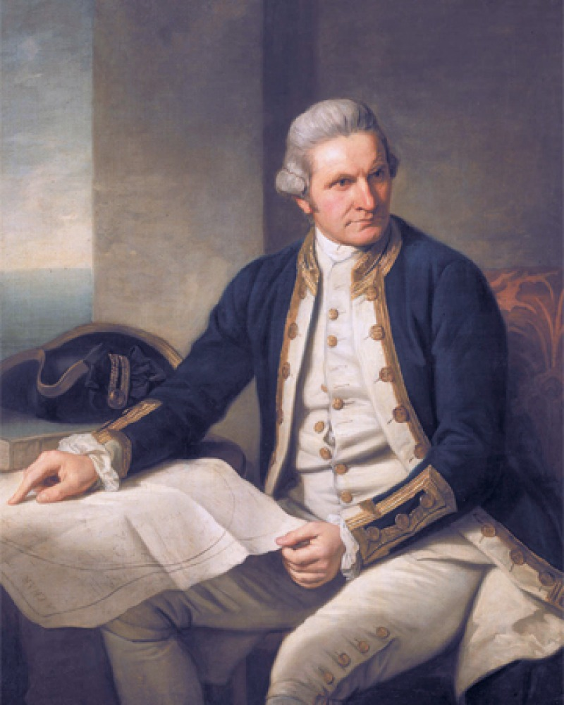 Painted portrait of British explorer James Cook.