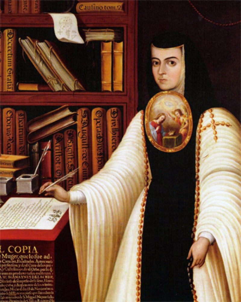 Portrait of Sister Juana Inés de la Cruz in a nun's habit.