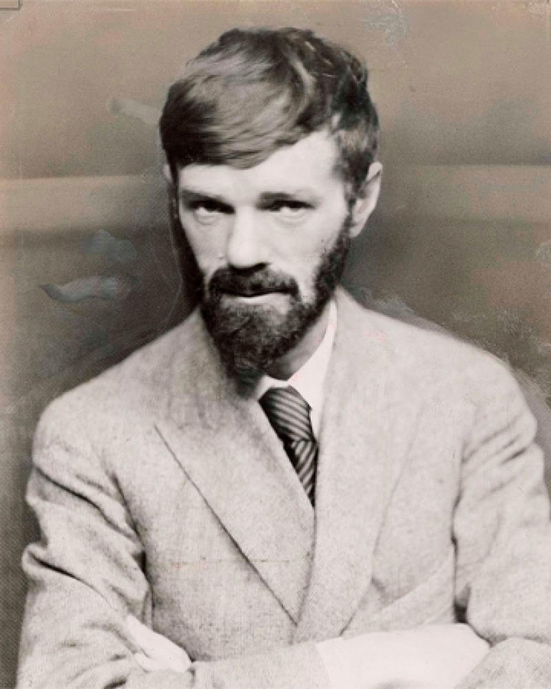 Black and white photograph of D.H. Lawrence with arms crossed.