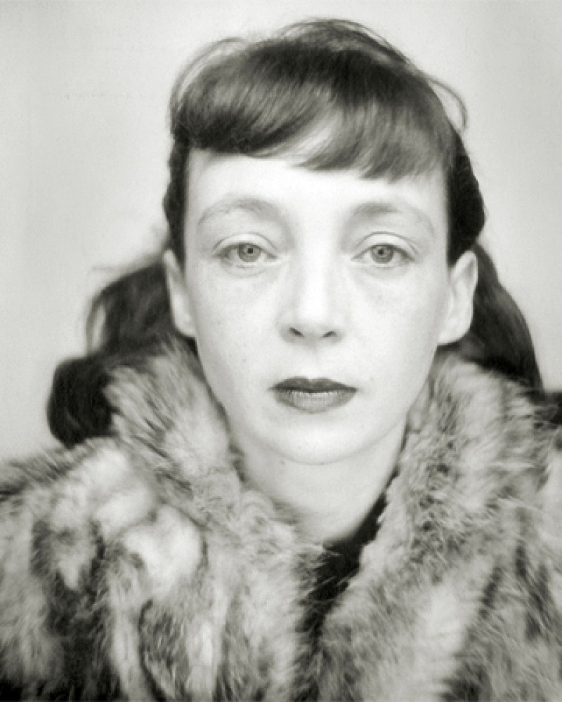 Black and white photograph of French writer and film director Marguerite Duras.
