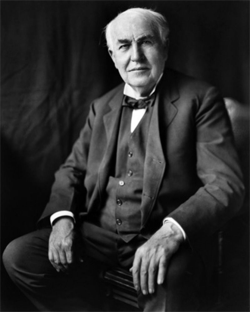 Black and white photograph of American inventor Thomas Alva Edison.