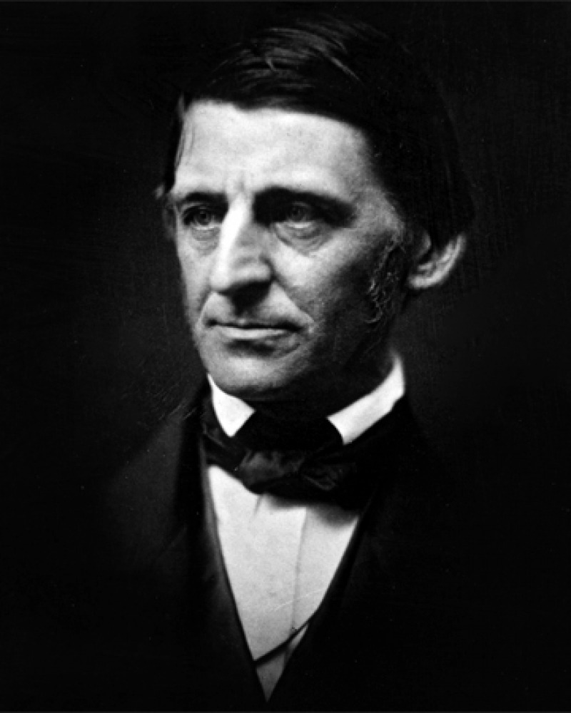 Black and white photograph of American writer and exponent of Transcendentalism Ralph Waldo Emerson.