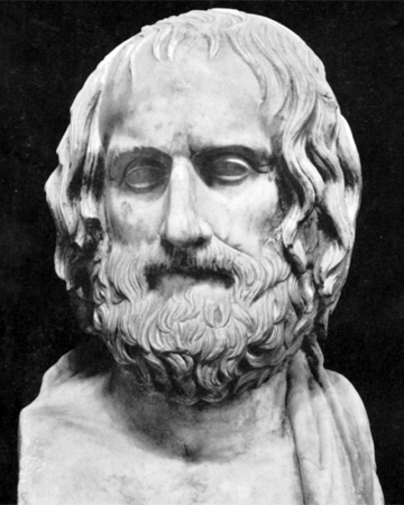 Sculpture bust of Greek dramatist Euripides.