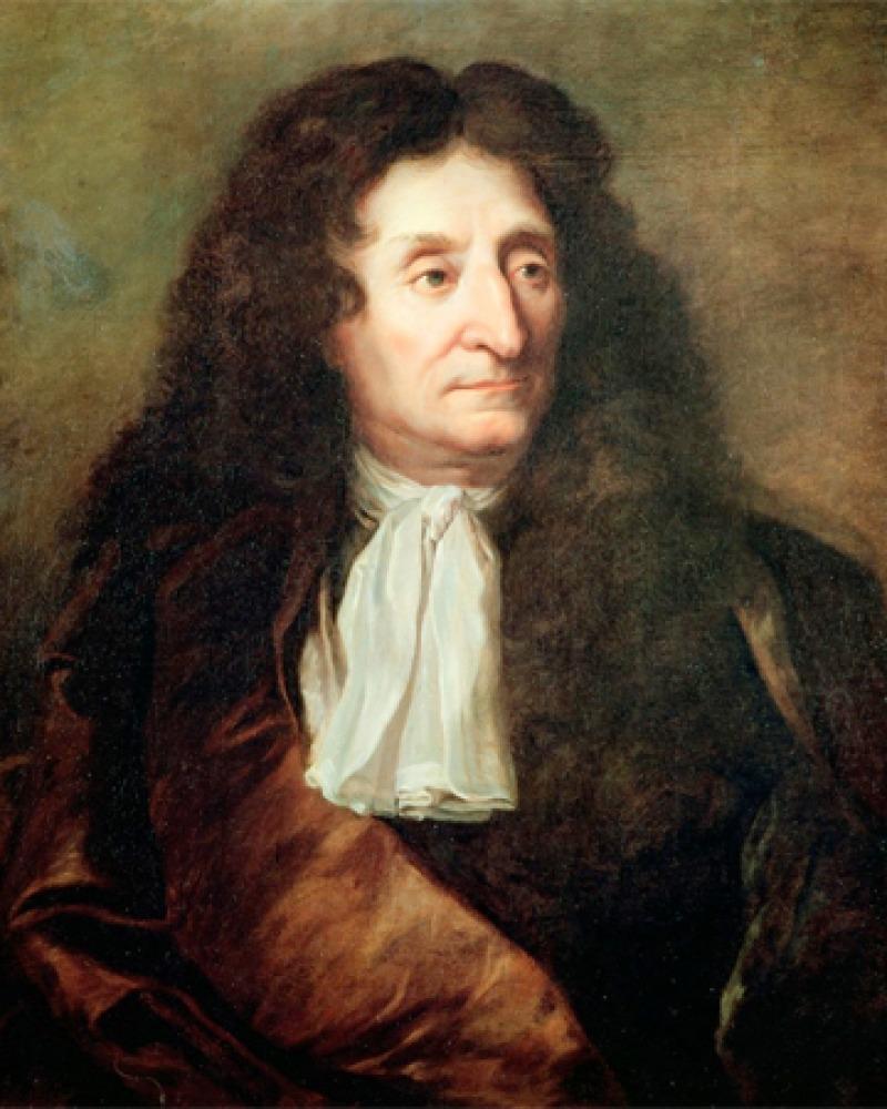 Painted portrait of French poet Jean de la Fontaine.