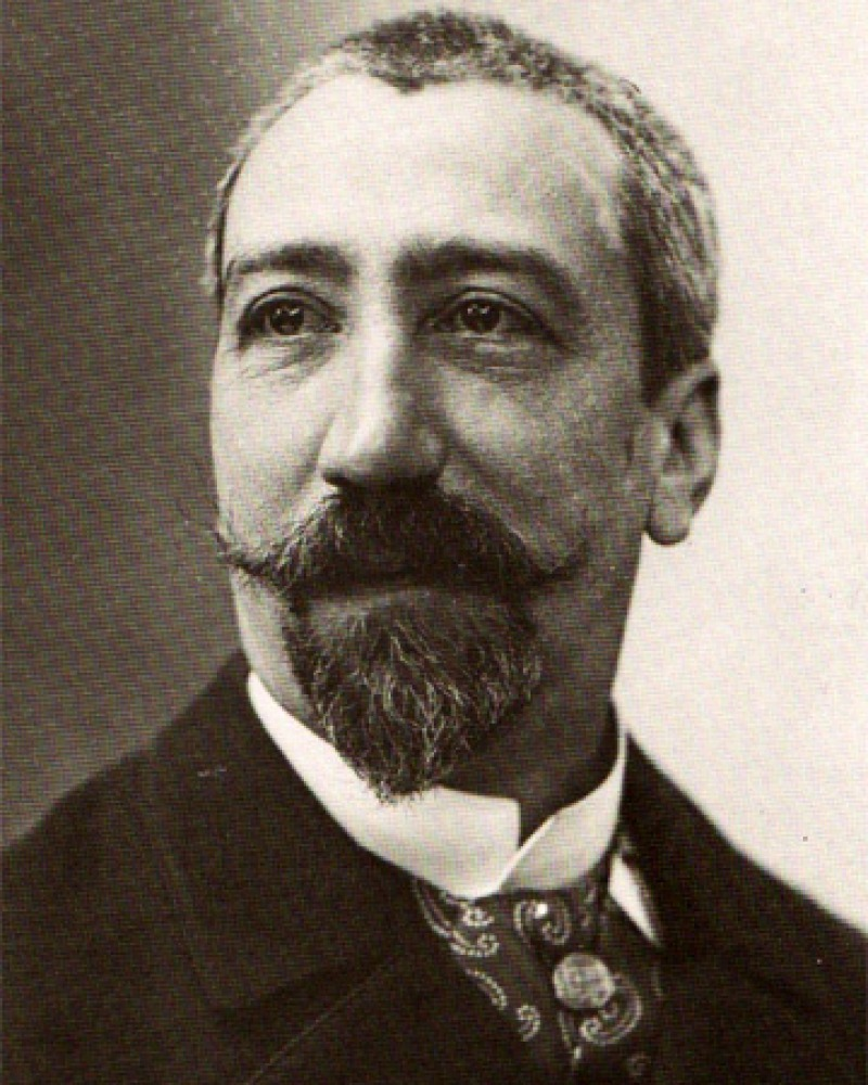 Black and white photograph of French man of letters Anatole France.