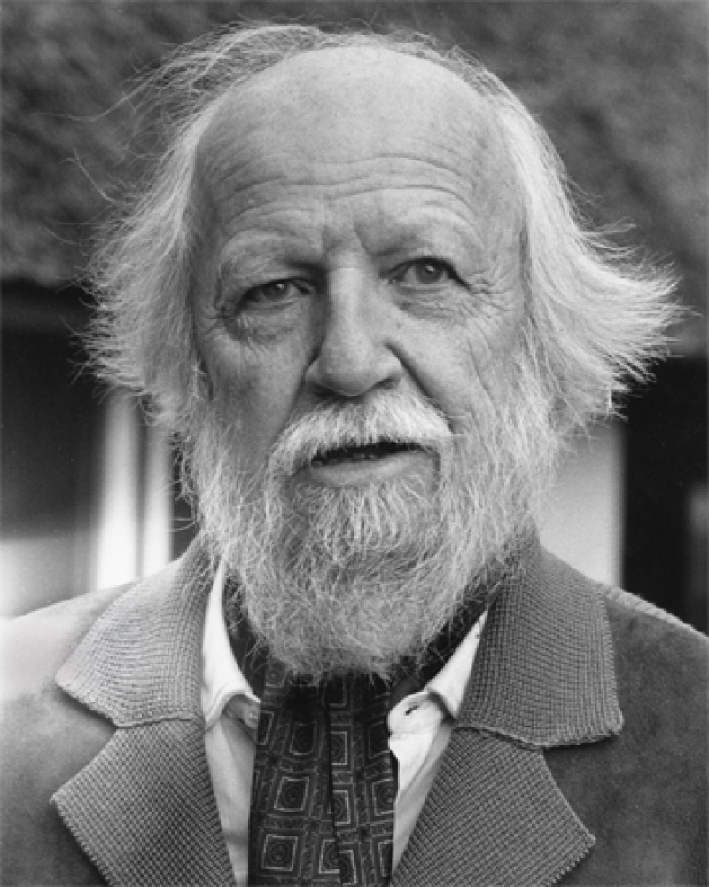 Black and white photograph of William Golding wearing an ascot.