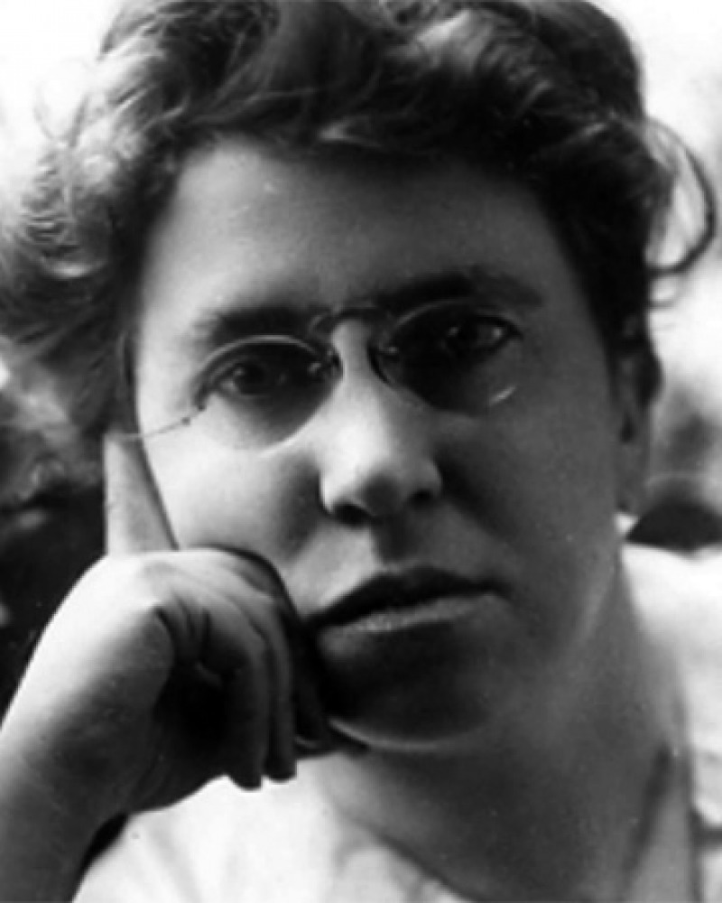 Black and white photograph of American anarchist Emma Goldman.